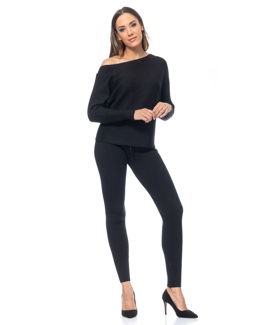 Image for Set of knitted  pants and pullover, crinckle with lurex and boat neck