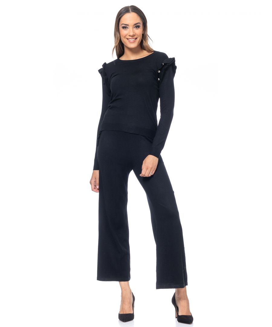 Image for Set of knitted wide pants and pullover,  with flounce and buttons details