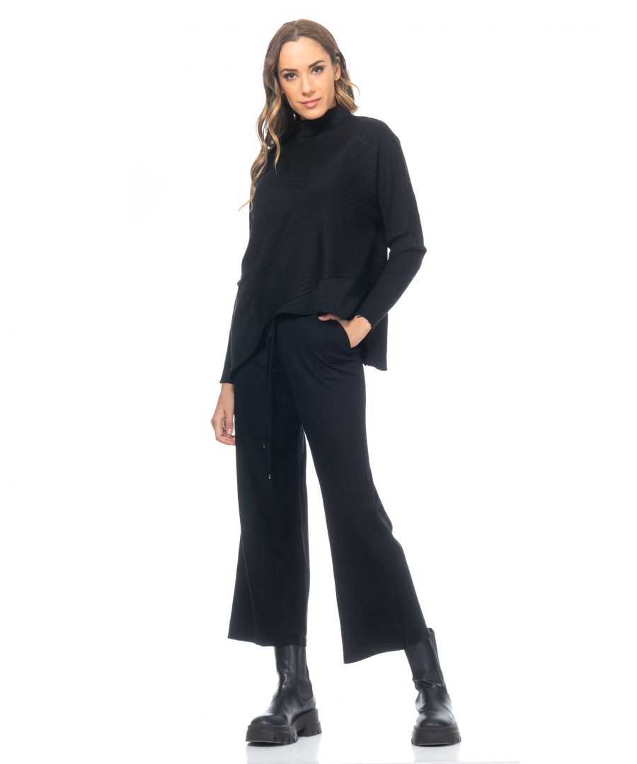 Image for Set of pants and knitted sweater. Wide-leg trousers with elastic waist and mock ribbed sweat