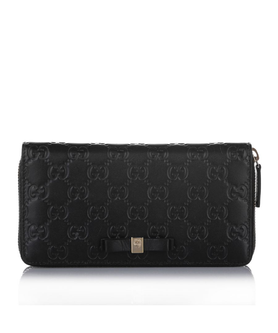 Image for Vintage Gucci Guccissima Zip Around Long Wallet Black