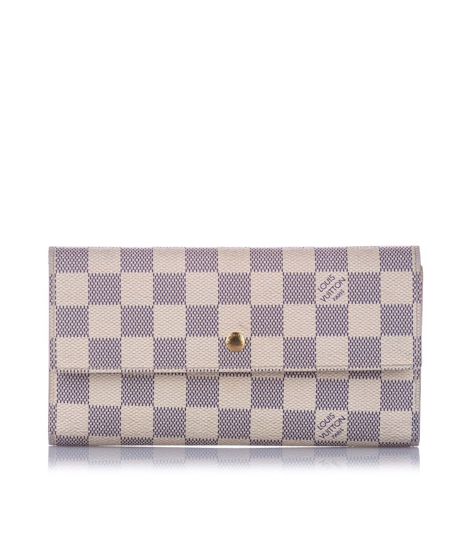 Image for Vintage Louis Vuitton Damier Azur Sarah Long Wallet White