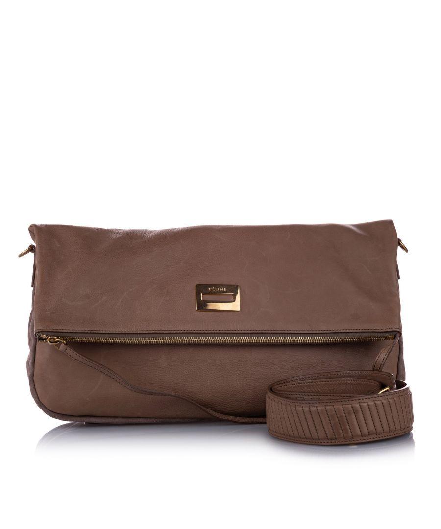 Image for Vintage Celine Fold-Over Leather Satchel Brown