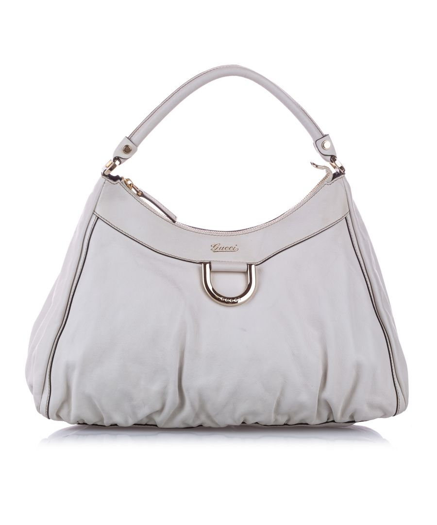 Image for Vintage Gucci Abbey D-Ring Leather Shoulder Bag White