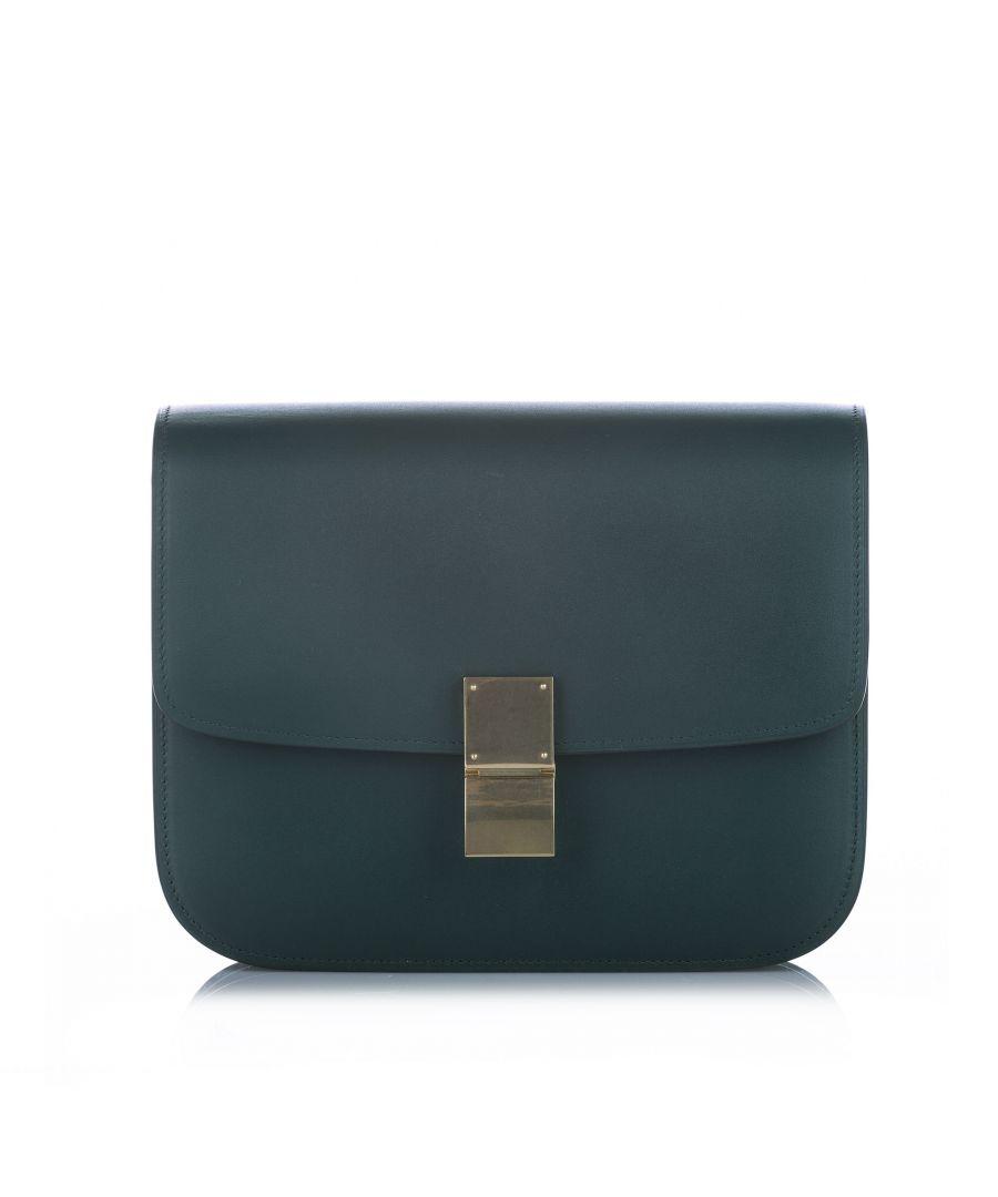 Image for Vintage Celine Classic Box Leather Crossbody Bag Blue