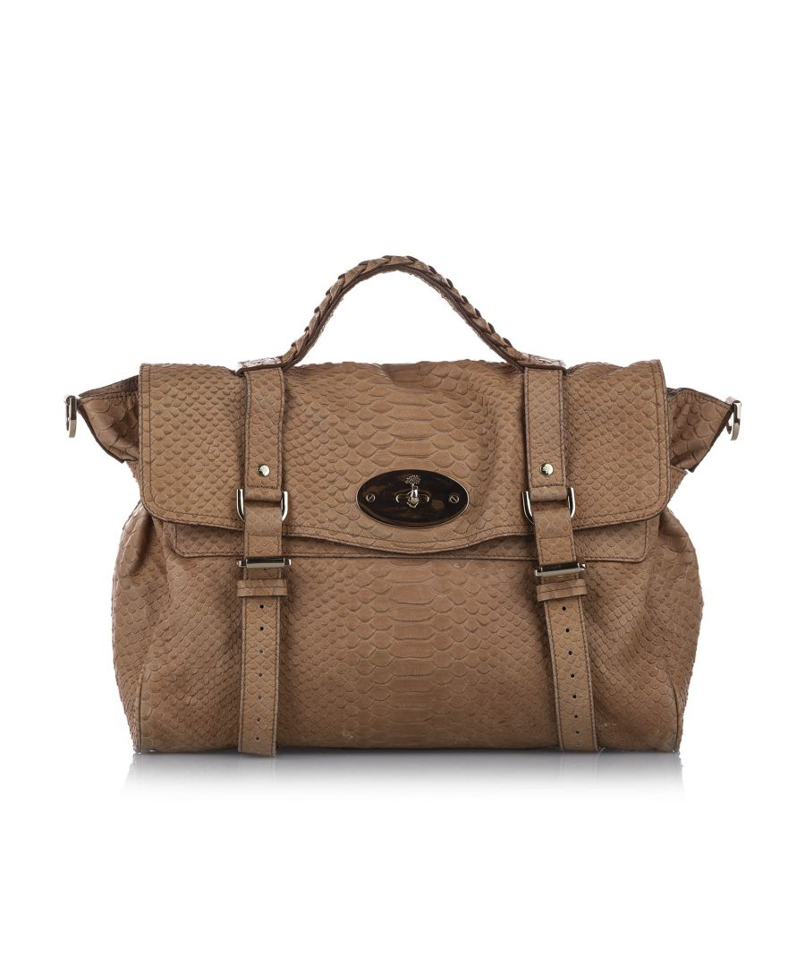 Image for Vintage Mulberry Alexa Embossed Leather Satchel Brown