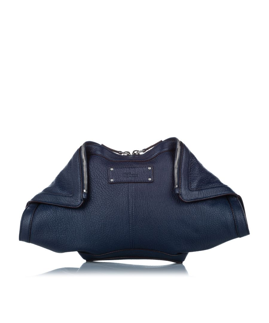Image for Vintage Alexander McQueen De Manta Leather Clutch Bag Blue