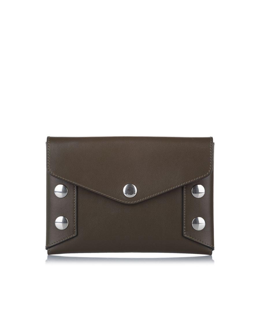 Image for Vintage Mulberry Envelope Studded Leather Clutch Bag Brown