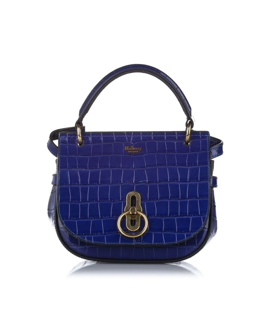 Image for Vintage Mulberry Croc Embossed Amberley Patent Leather Satchel Blue