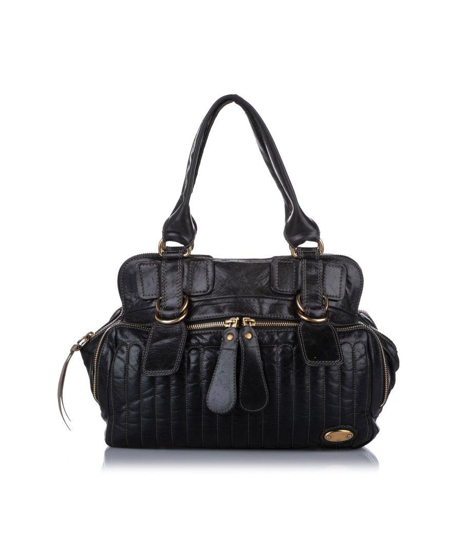 Image for Vintage Chloe Leather Bay Handbag Black