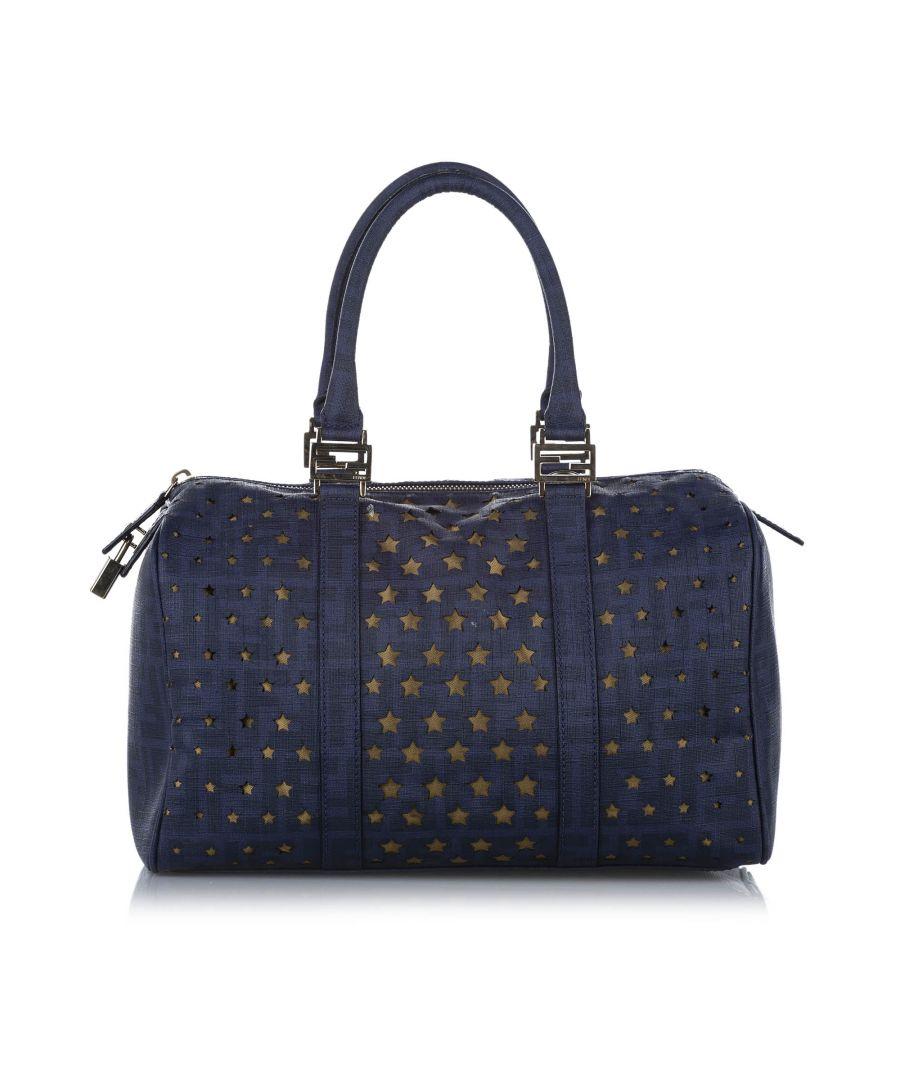 Image for Vintage Fendi Star Leather Boston Bag Blue