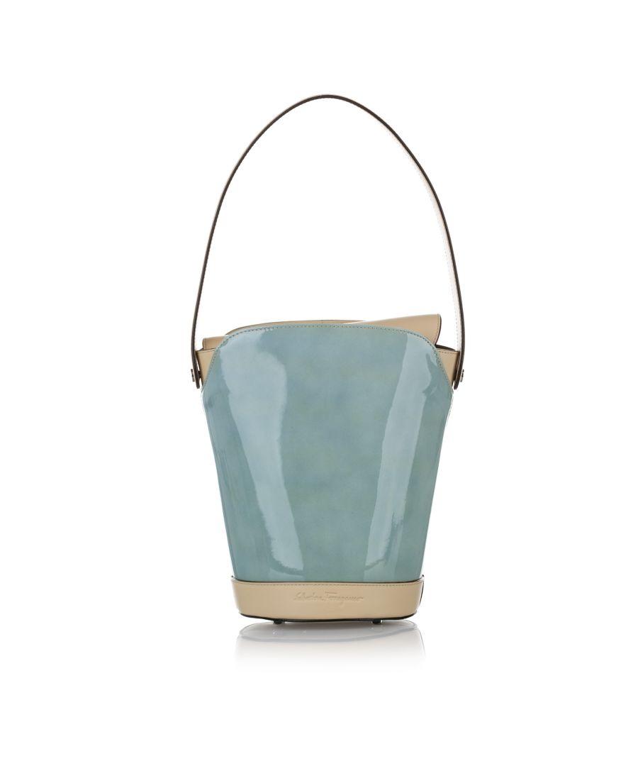 Image for Vintage Ferragamo Patent Leather Bucket Bag Blue
