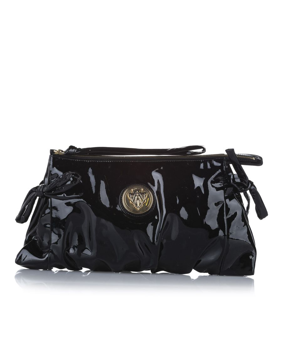 Image for Vintage Gucci Hysteria Patent Leather Clutch Bag Black