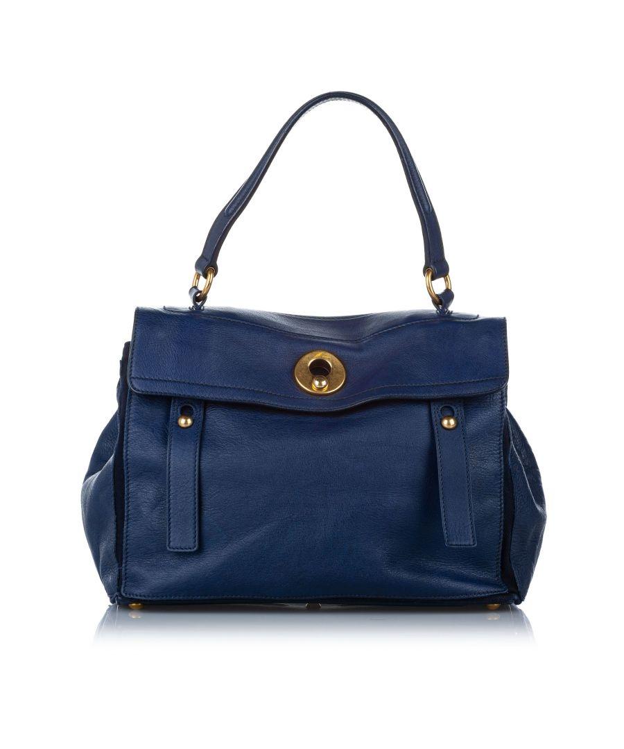 Image for Vintage YSL Muse Two Leather Shoulder Bag Blue