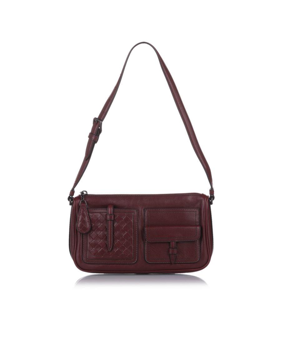 Image for Vintage Bottega Veneta Intrecciato Leather Shoulder Bag Red