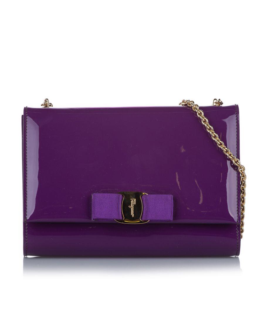 Image for Vintage Ferragamo Vara Ginny Patent Leather Crossbody Bag Purple