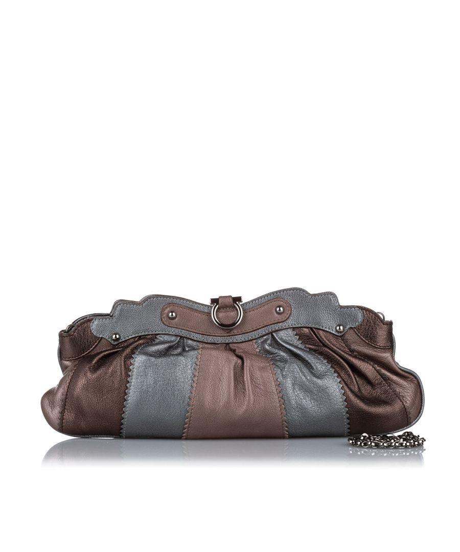 Image for Vintage Ferragamo Gancini Leather Baguette Brown