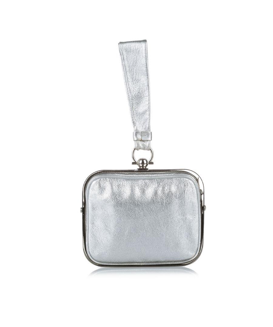 Image for Vintage Ferragamo Gancini Clara Leather Handbag Silver