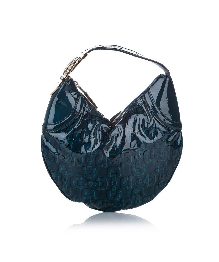Image for Vintage Gucci Horsebit Glam Patent Leather Hobo Bag Blue