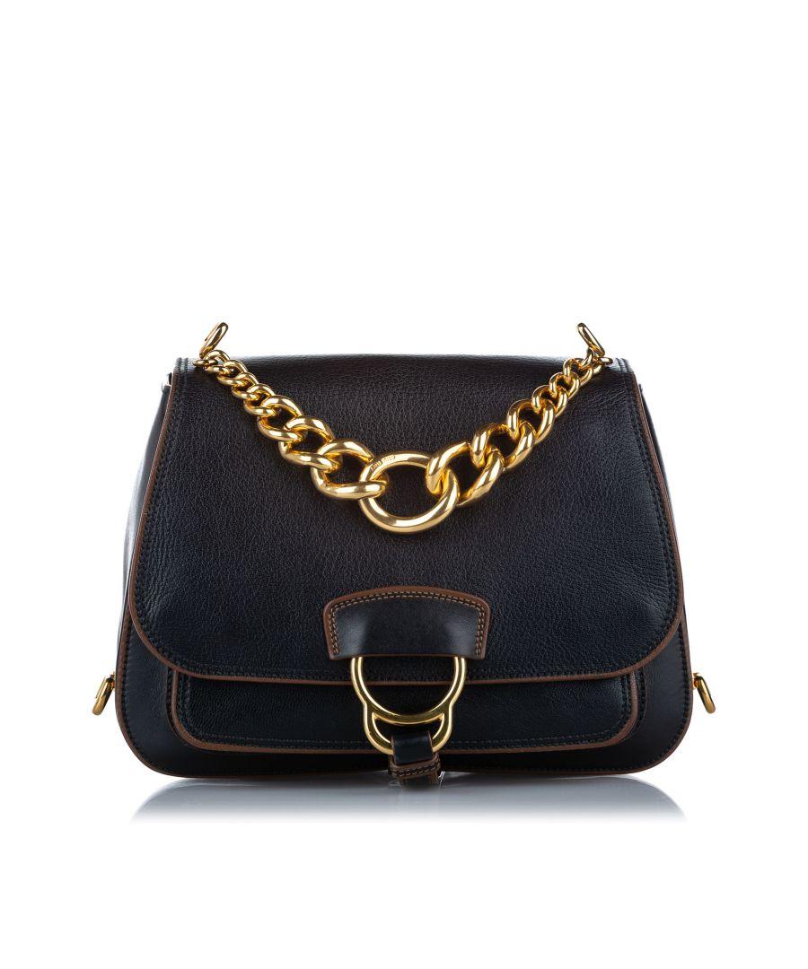 Image for Vintage Miu Miu Madras Dahlia Leather Satchel Black