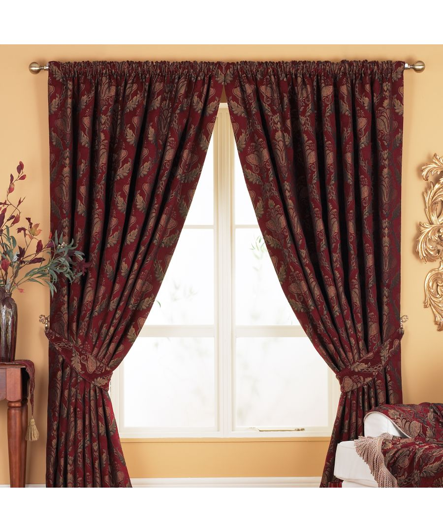 Image for Shiraz Danmask Pencil Pleat Curtains in Bugundy