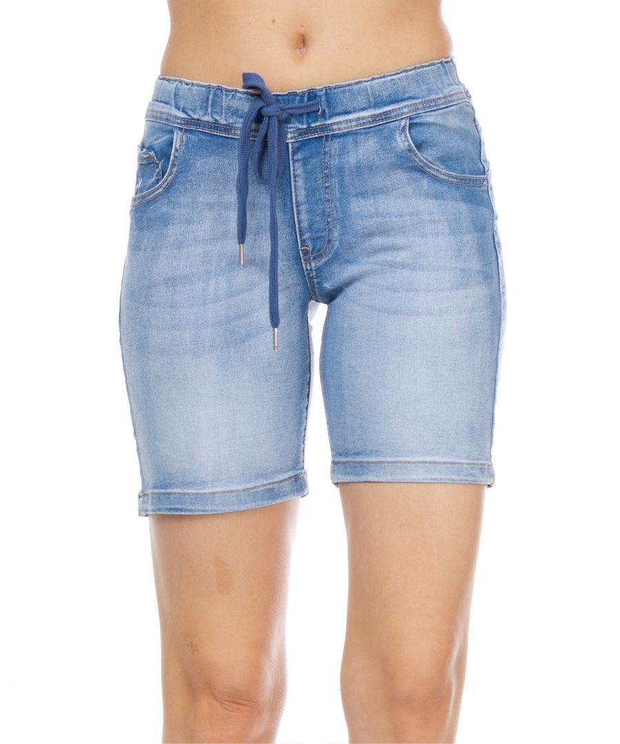 Image for Denim short with elastic waist