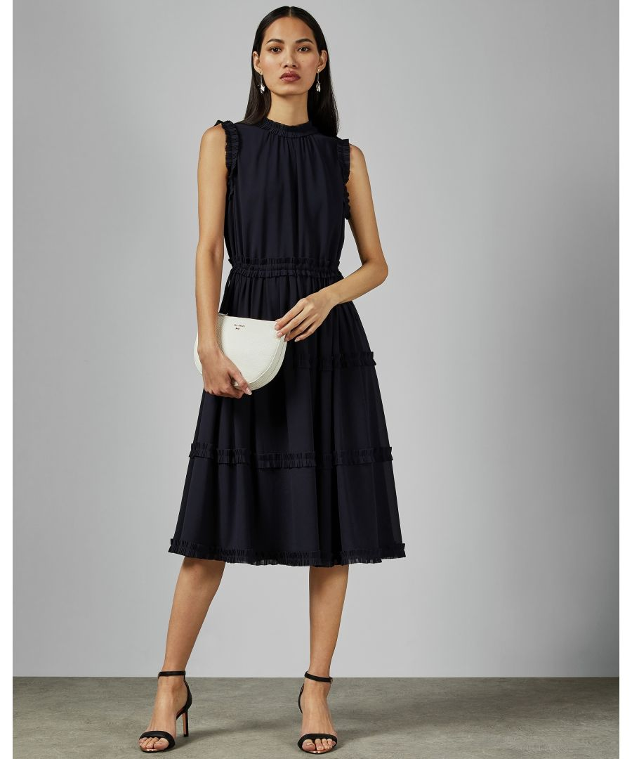 Image for Ted Baker Sinita Tie Waist Midi Dress, Navy