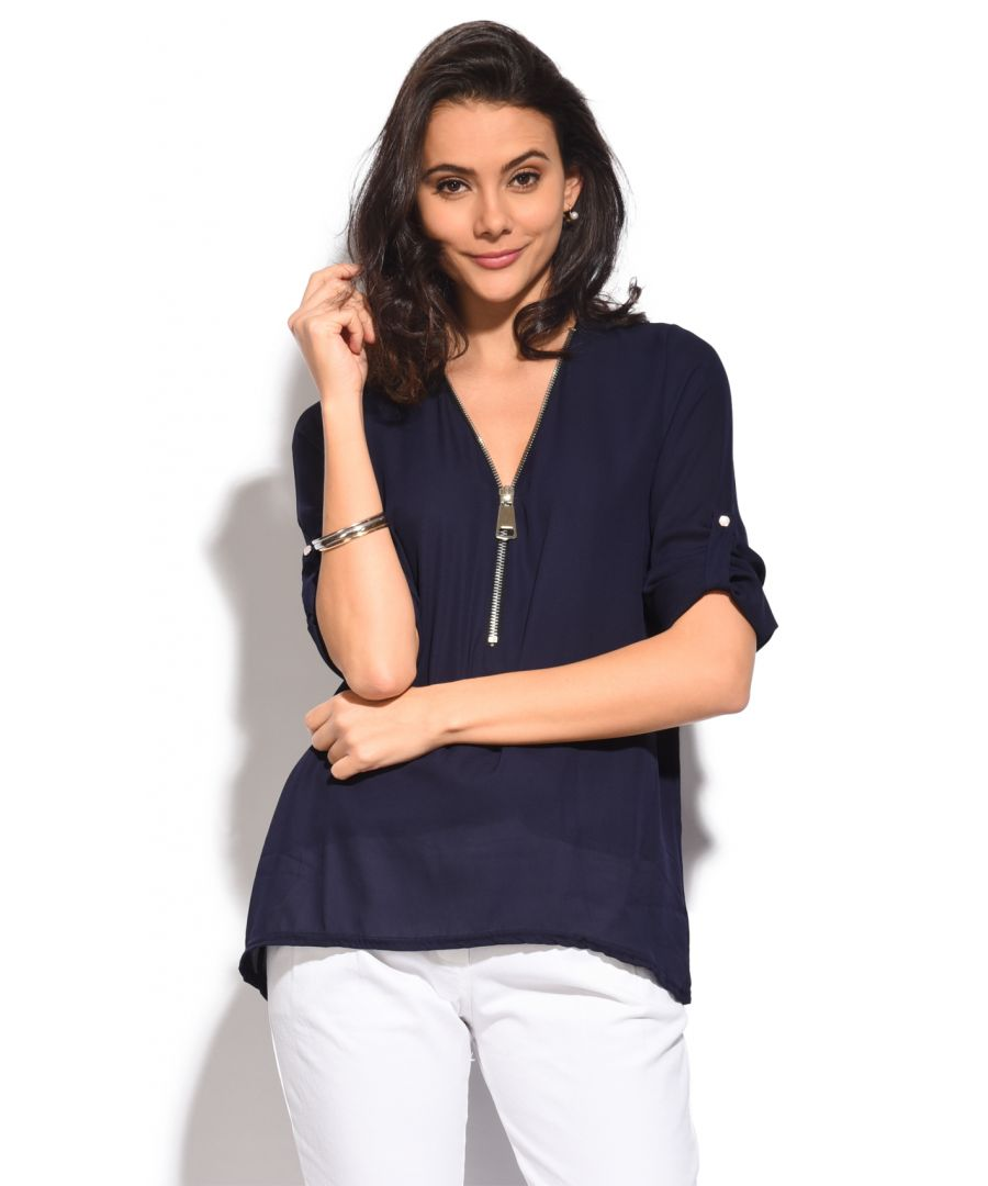 Image for Low zipped V-Neck Top