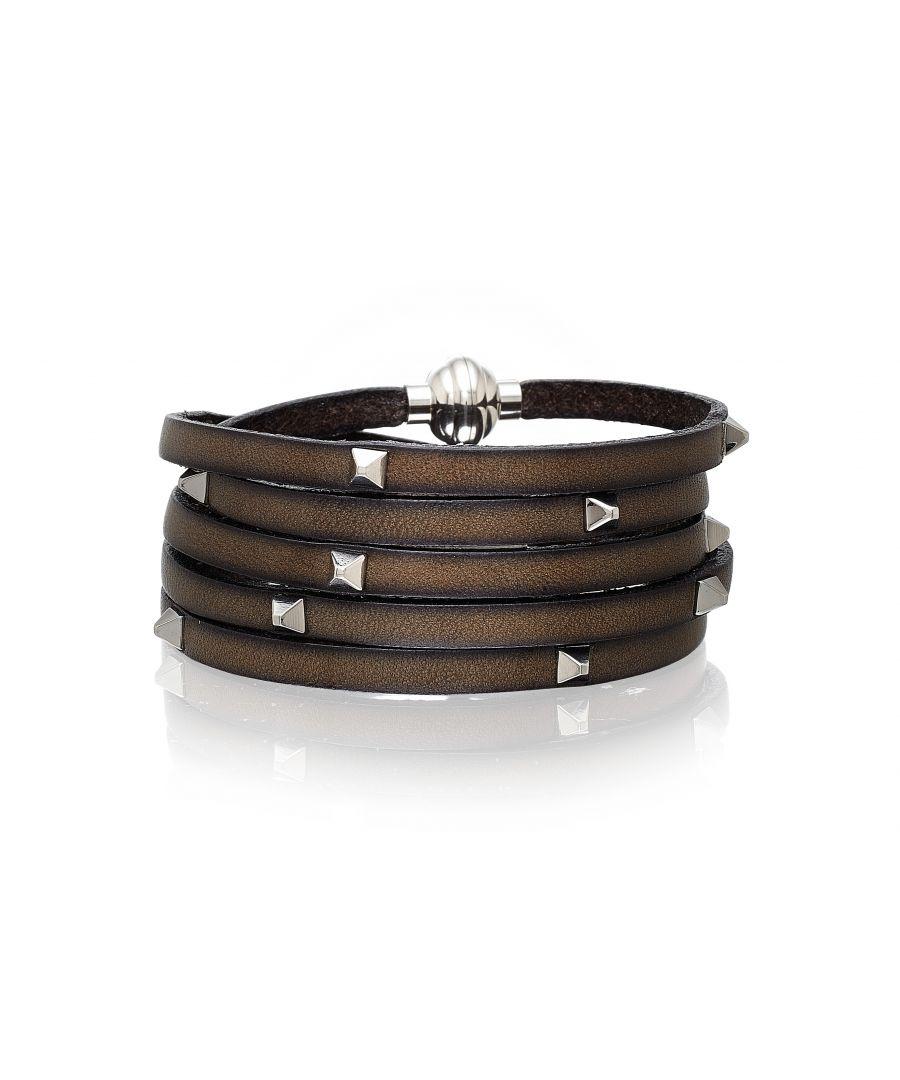 Image for AREZZO mud grey bracelet w/pyramid studs