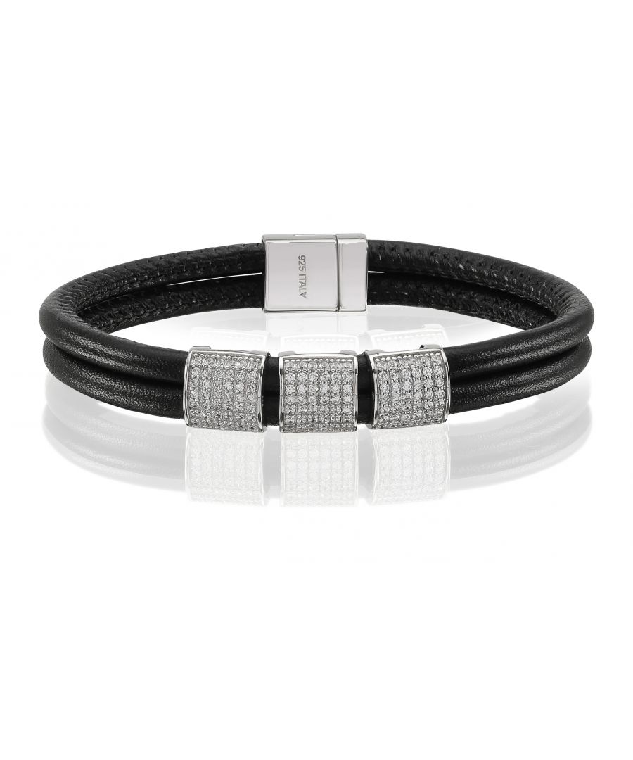 Image for MODENA QUADRATO TRE LEATHER BRACELET