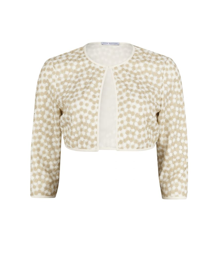 Image for Gina Bacconi Flower Embroidered Jacket in Gold