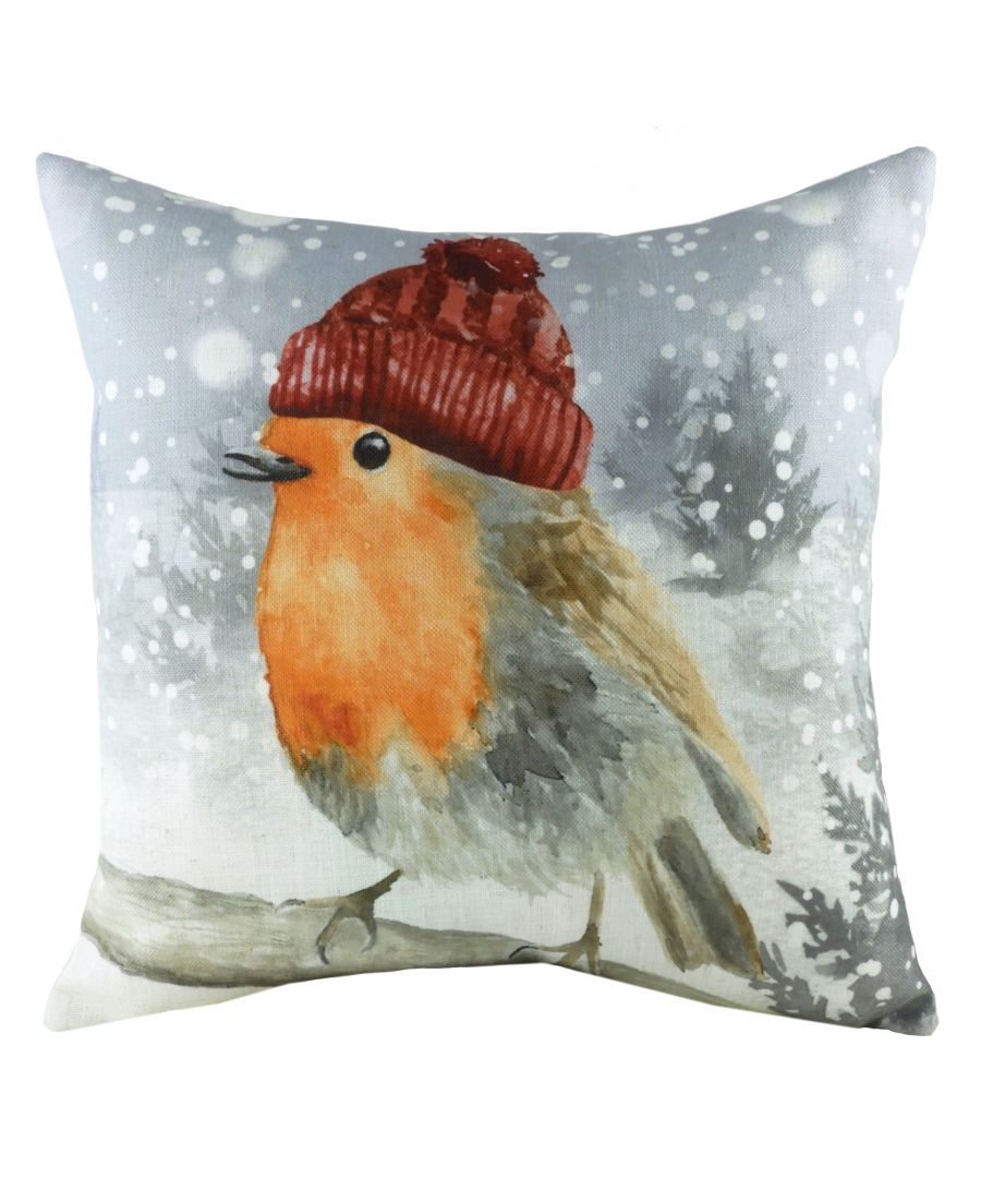 Image for Snowy Robin with Hat Cushion