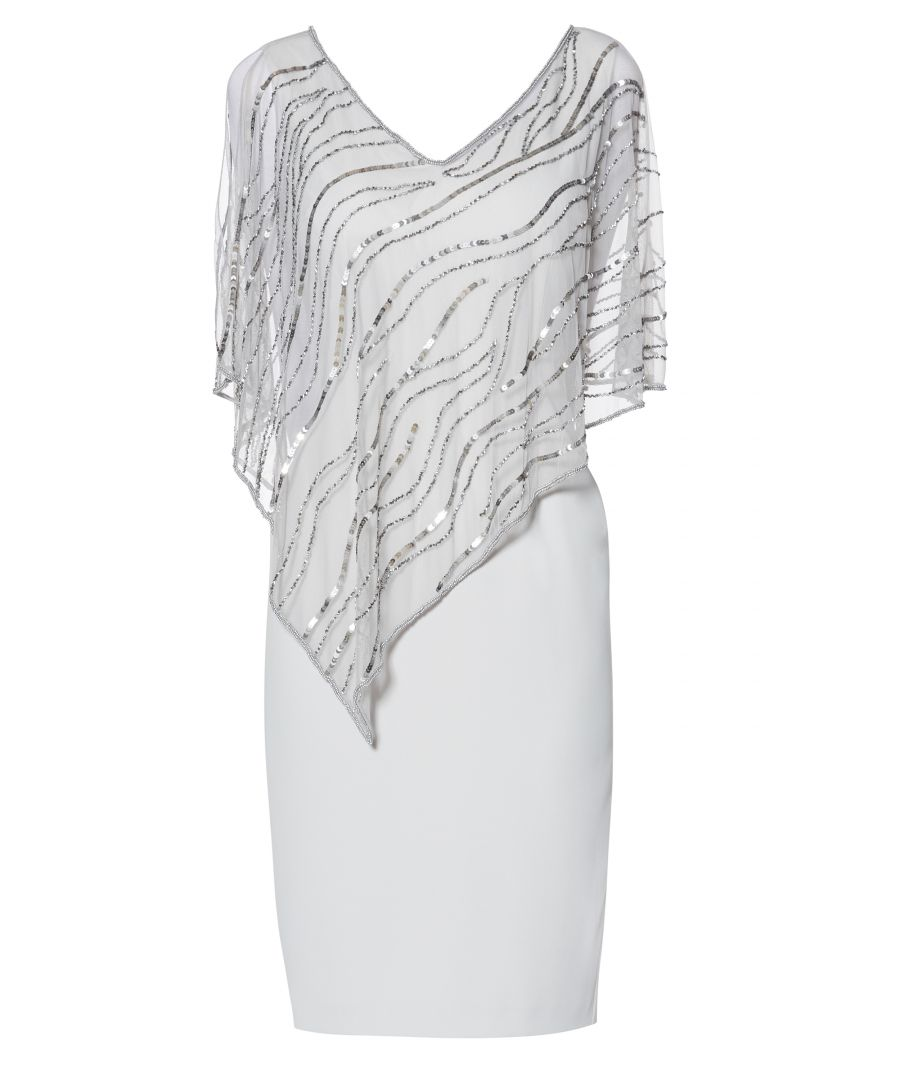 Image for Joanna Assymetric Beaded Cape Dress