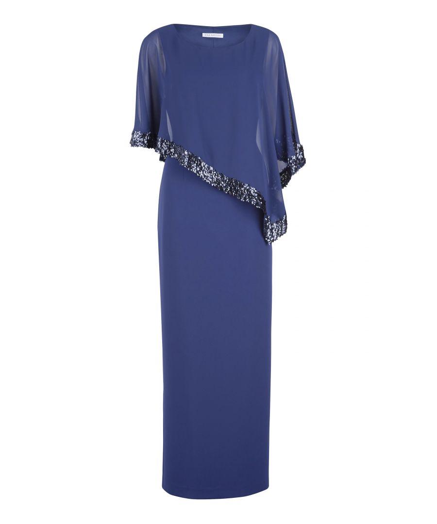 Image for Tiffany Sequin Trim Cape Maxi Dress