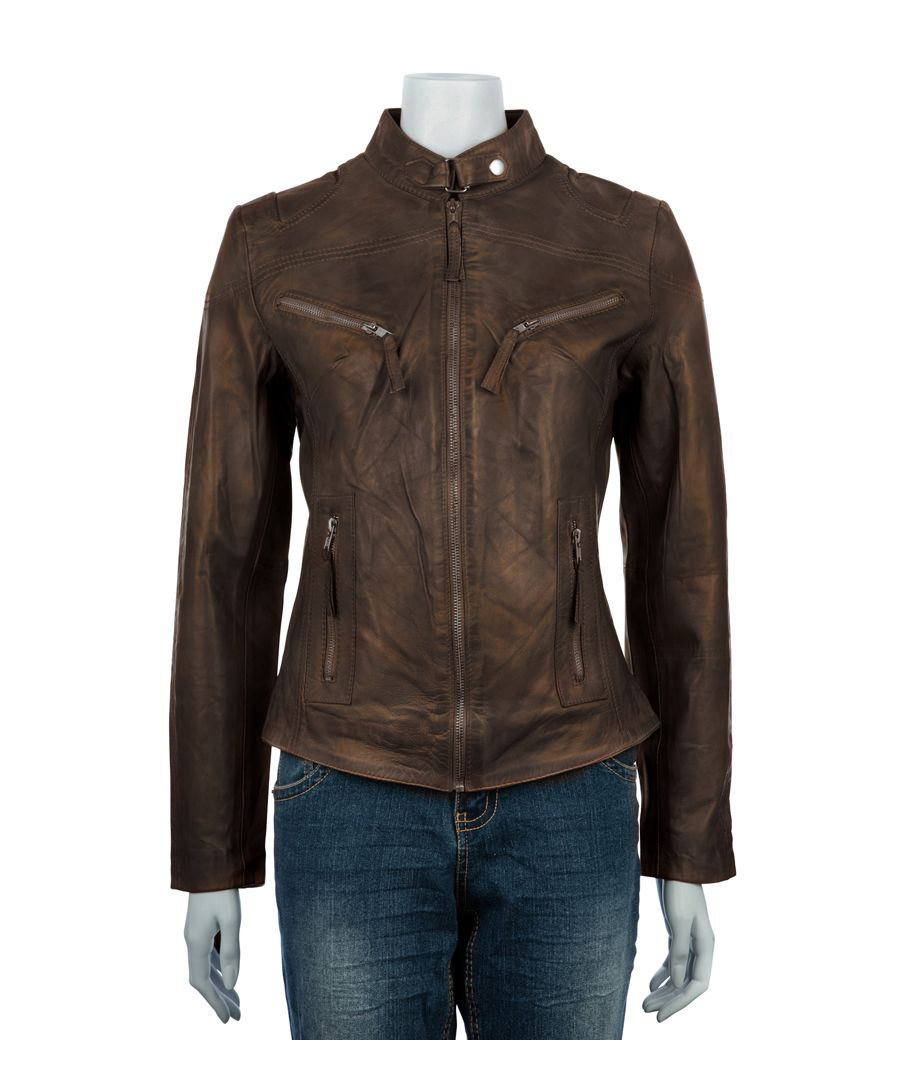 Image for Ladies Classic Brown Biker Jacket