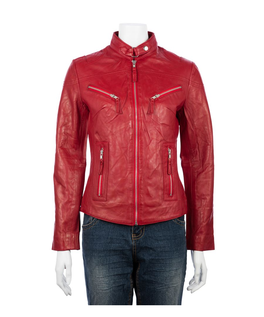 Image for Ladies Classic Red Biker Jacket