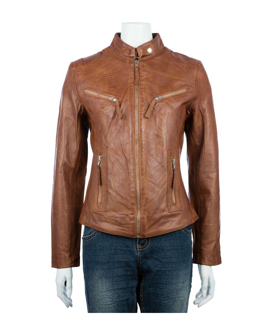 Image for Ladies Classic Tan Biker Jacket