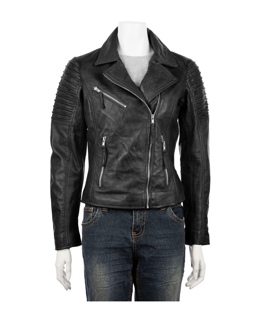 Image for Ladies Asymetric Black Biker Jacket