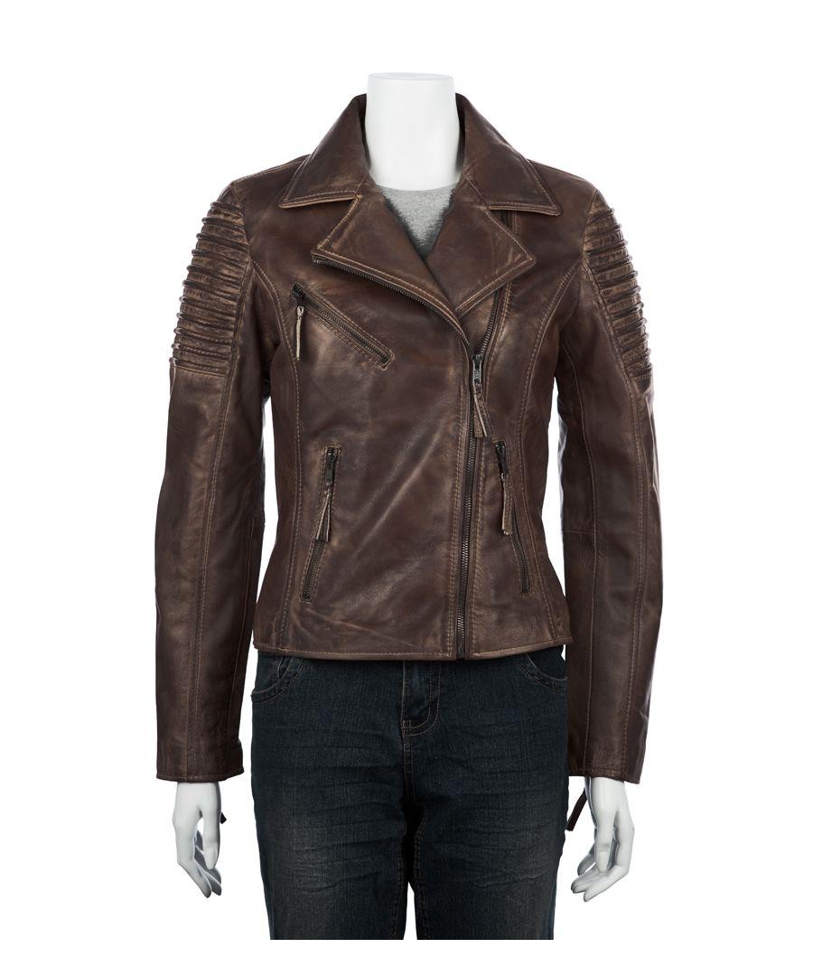 Image for Ladies Asymetric Brown Biker Jacket