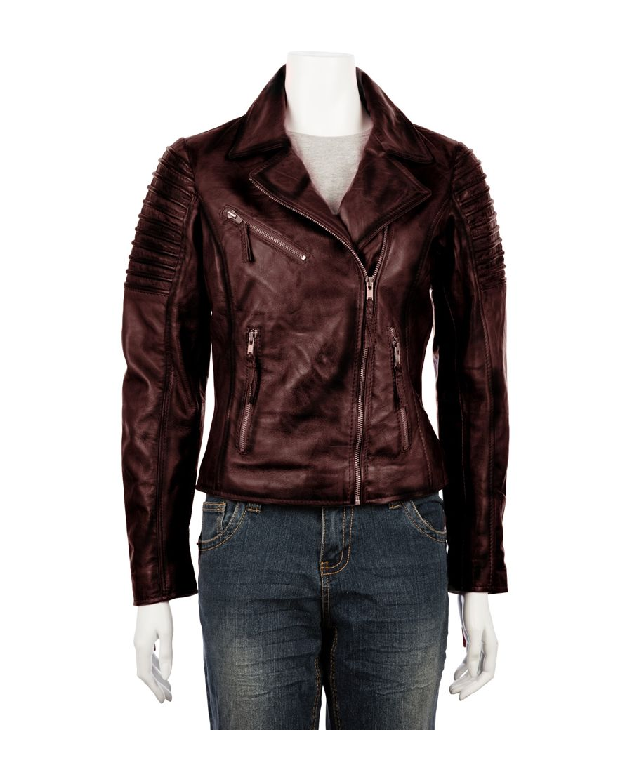 Image for Ladies Asymetric Burgundy Biker Jacket