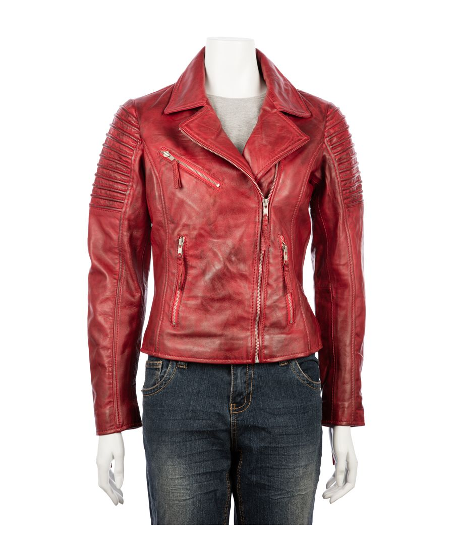 Image for Ladies Asymetric Red Biker Jacket