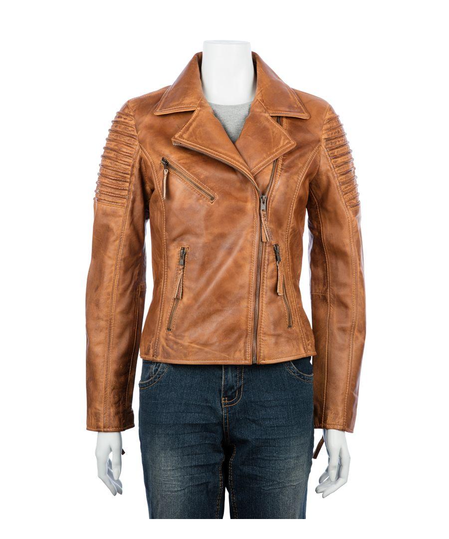 Image for Ladies Asymetric Tan Biker Jacket
