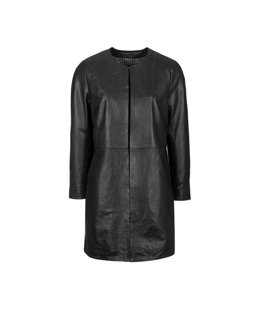 Image for Ladies Black Collarless 3/4 Edge To Edge Coat