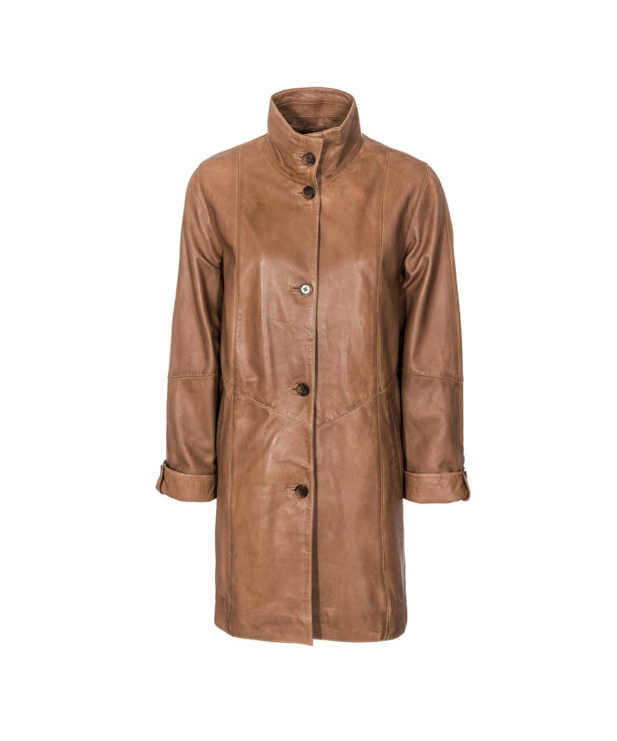 Image for Ladies Tan High Collar 5 Button Coat
