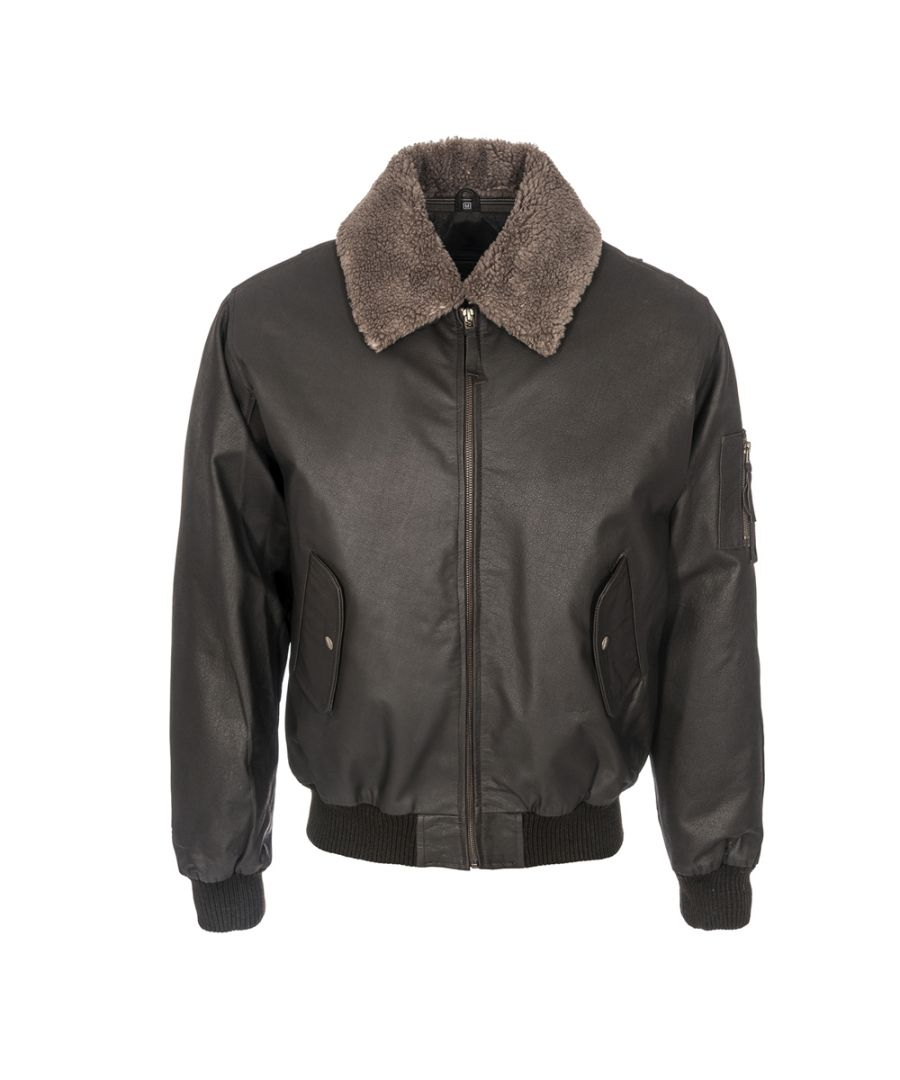 Image for Mens Classic Black Fur Collar Aviator Removable Lining Jacket