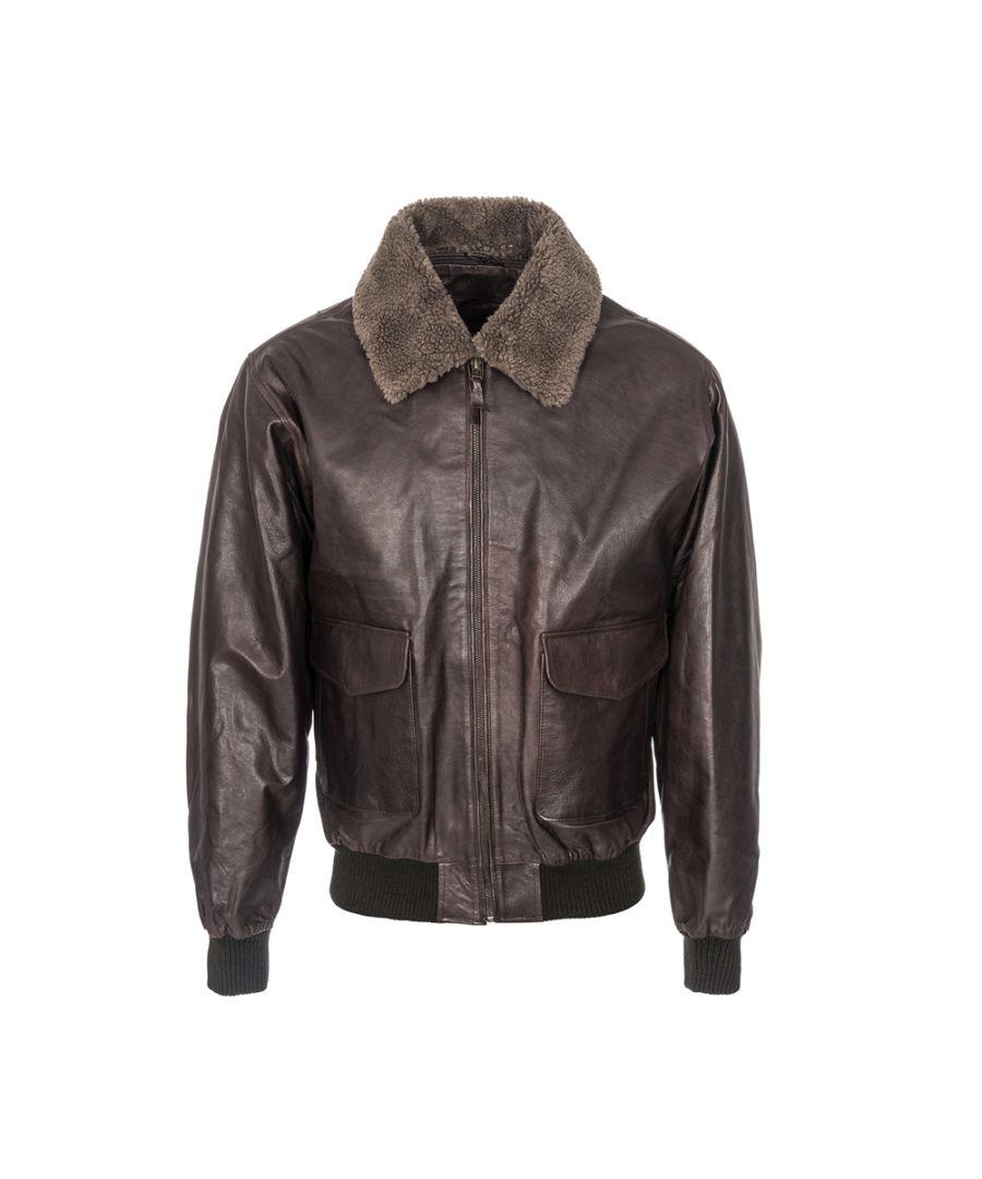 Image for Mens Fur Collar Burgundy Aviator Jacket