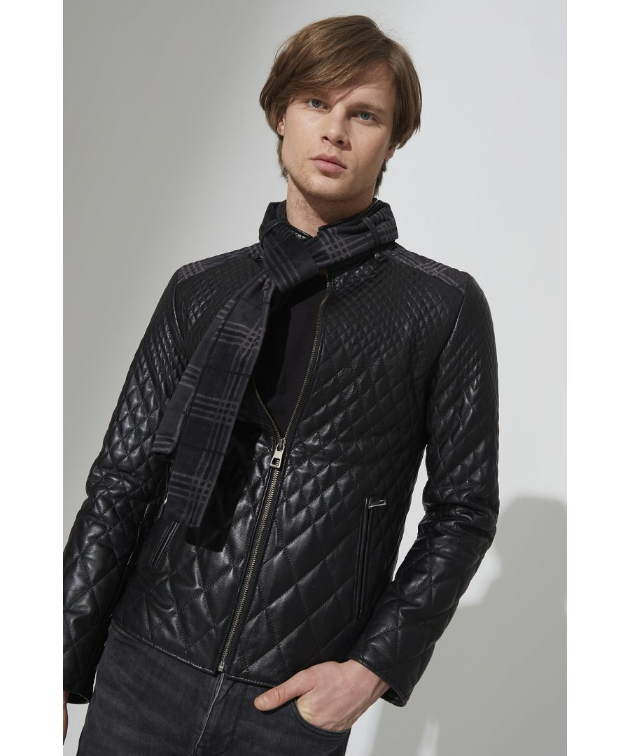 Image for Men's Leather Criss Cross Jacket With Matching Scarf