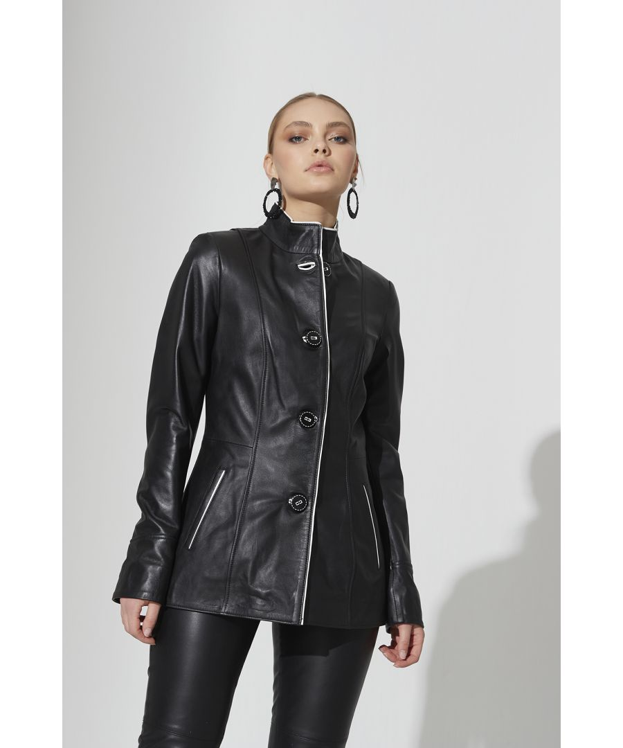 Image for Ladies Retro Leather Jacket