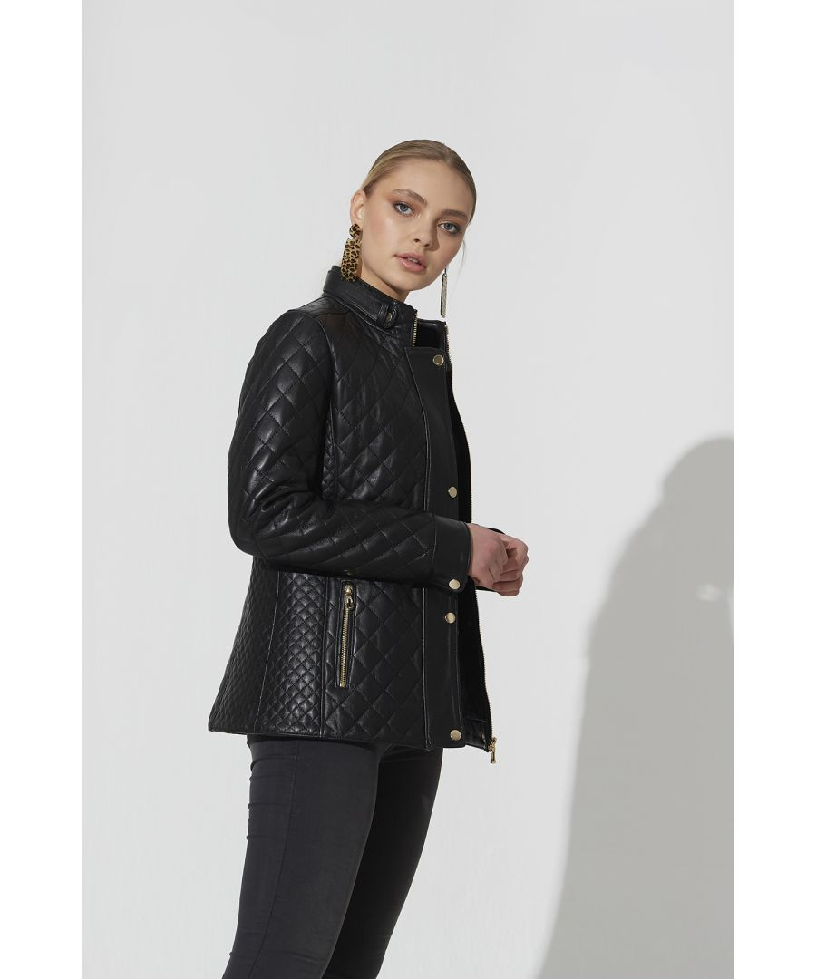 Image for Ladies Criss Cross Leather Jacket