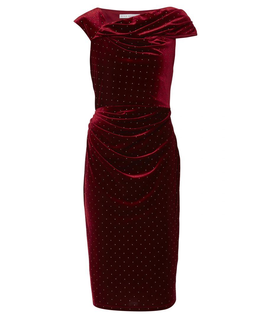 Image for Solange Gold Stud Velvet Dress