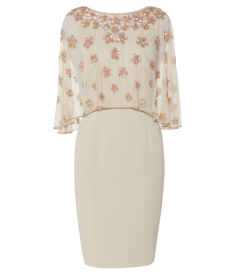 Image for Ledora Crepe Dress With Floral Cape